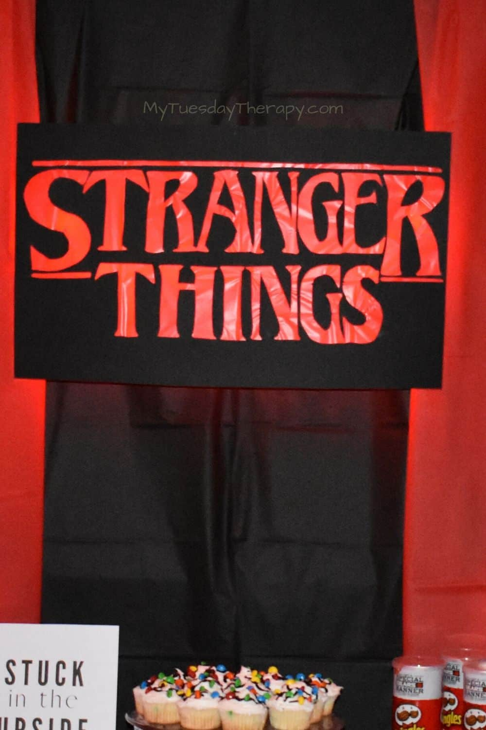 DIY Stranger Things Party Sign with Lights, easy party decor.