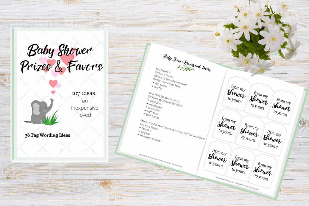 Baby shower prize and favor ideas. Baby shower favor tag wording ideas and tag printables.