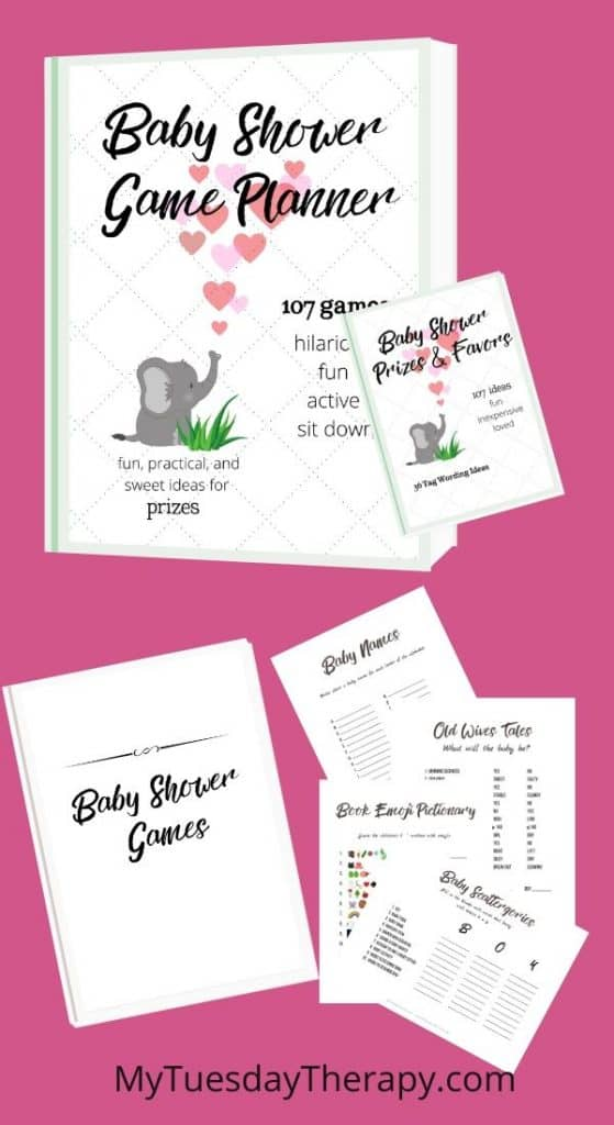 Baby shower game planner, prize and favor ideas, baby shower favor tag wording ideas, favor tag printables, baby shower game printables for boy or girl baby shower. Neutral baby shower game printables.
