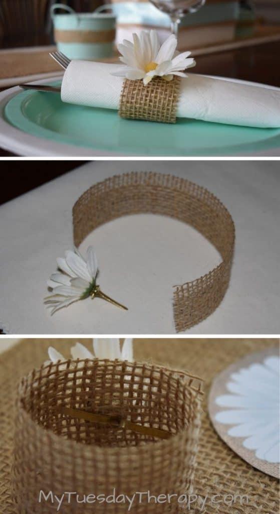 Daisy Napkin Ring DIY. Easy daisy themed decor for summer parties.