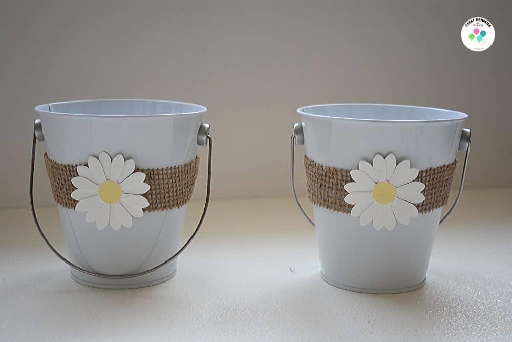 Daisy party decoration diy daisy buckets.