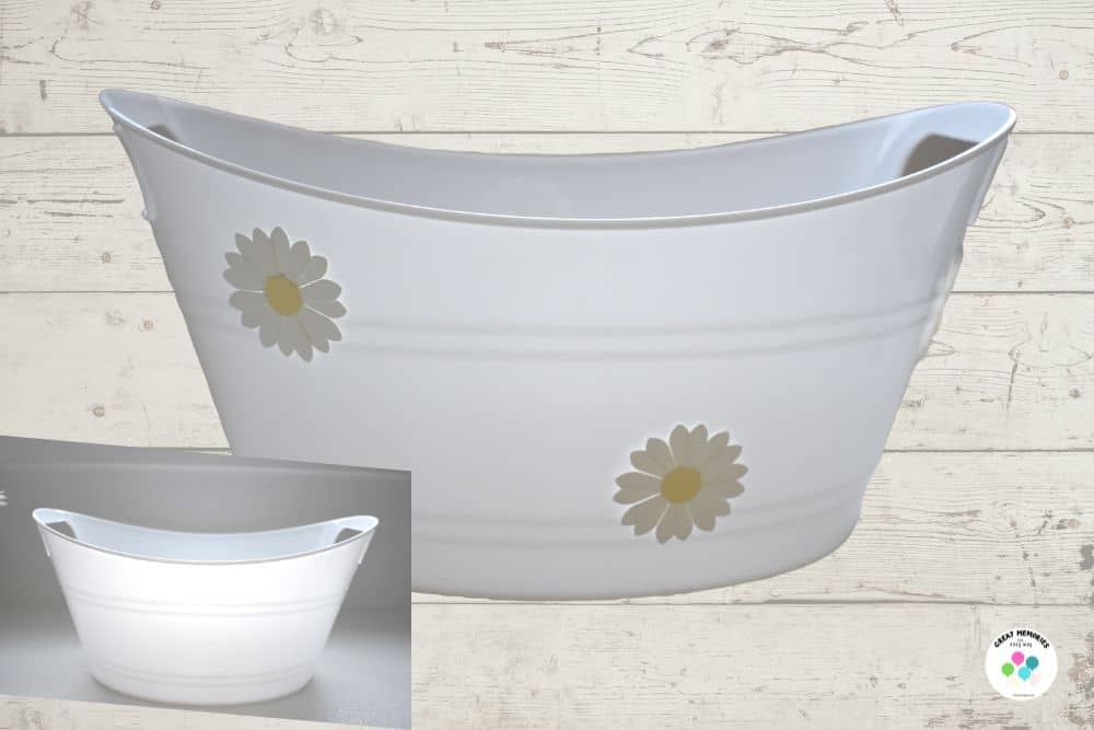Daisy tub for serving food at daisy themed party.