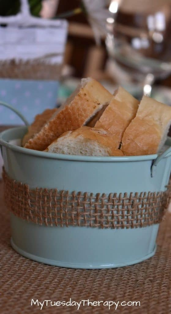 Robin egg colored serving dish with baguette. A cute way to serve food at a summer baby shower or any other summer party.