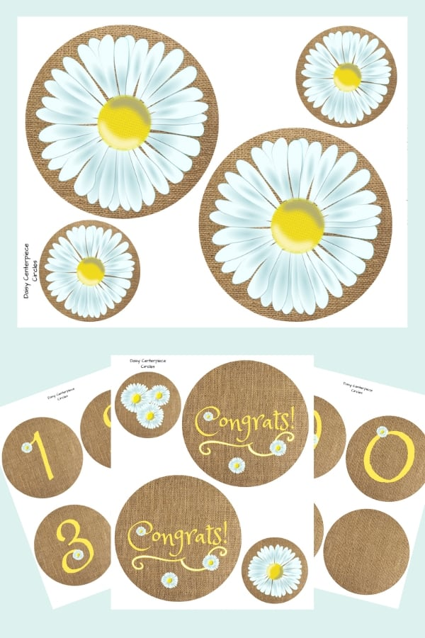 Daisy party printables. Banner, centerpieces, cupcake wrappers.