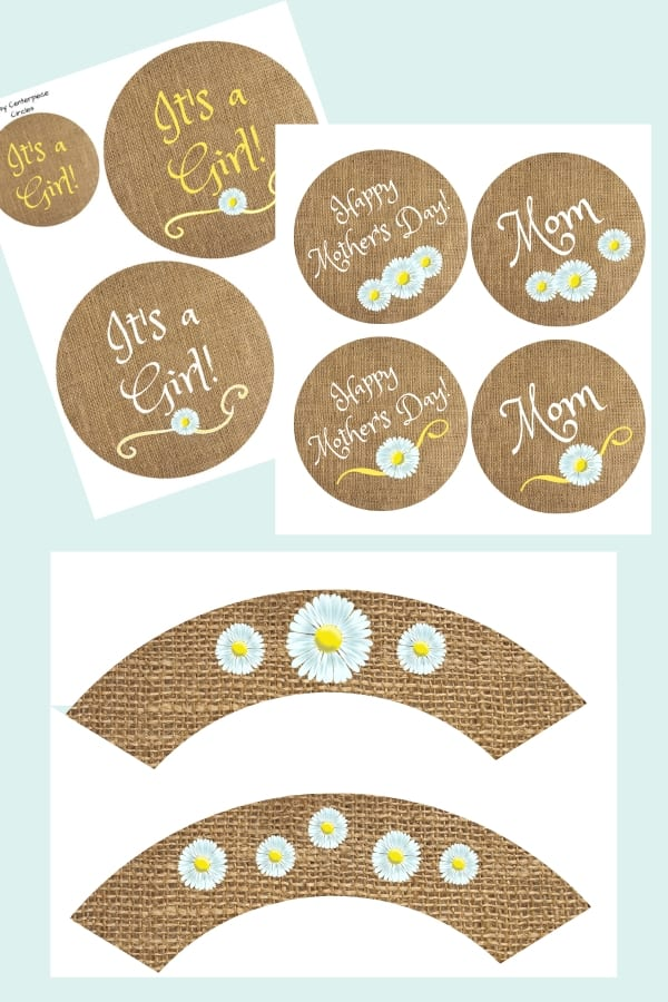 Daisy party printables. Centerpieces, coasters, banners, cupcake wrappers for baby showers, graduations, mother's day, summer parties.