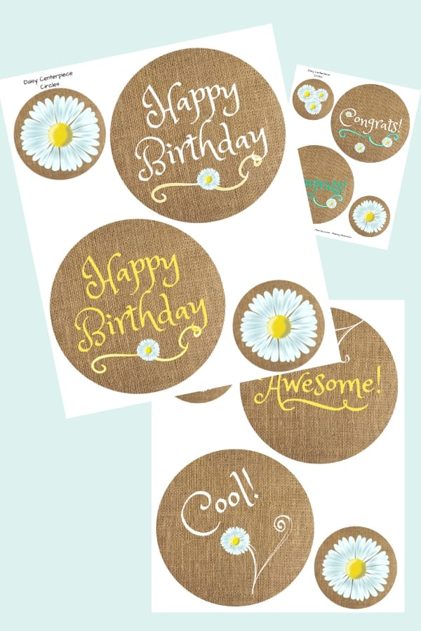 Daisy party printables for birthdays, graduations, summer parties.