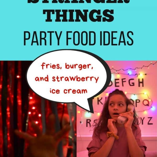 Simple Stranger Things Party Food Ideas. French Fries, burger and strawberry ice cream just like Eleven had at Benny's Burger.