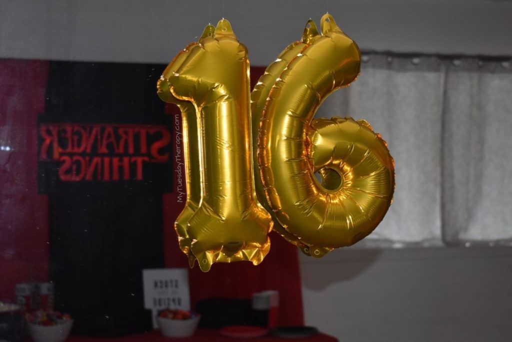 Balloons for sweet sixteen party.