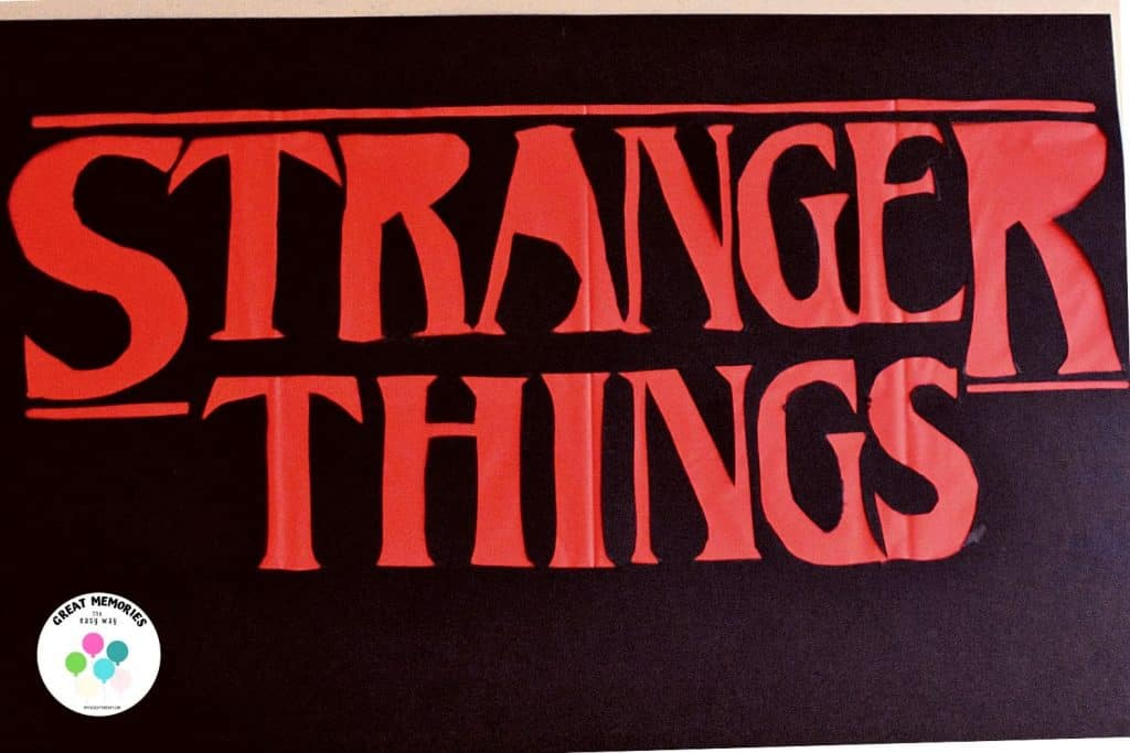 """Stranger Things DIY Sign  Step 3, flip over and attach the loose pieces to the letter """"r"""" and """"a"""""""