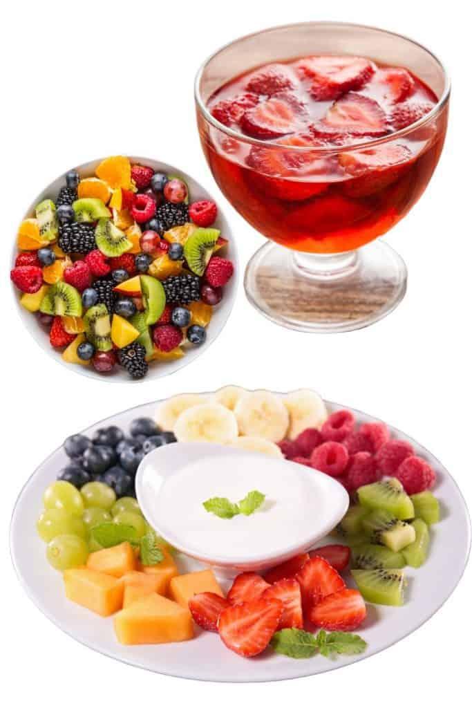 Fruit salad, fruit jello cups, fruit dip