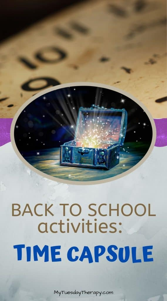 Back to school party activity ideas. End of summer. Make a time capsule or a fun box.