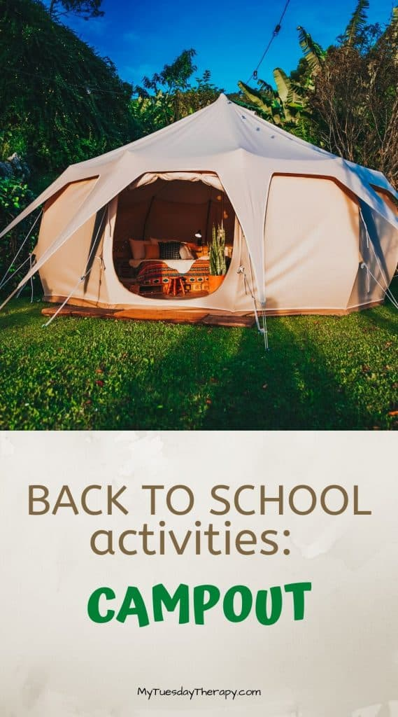 Back to school party activity. End of summer party. Campout with kids.