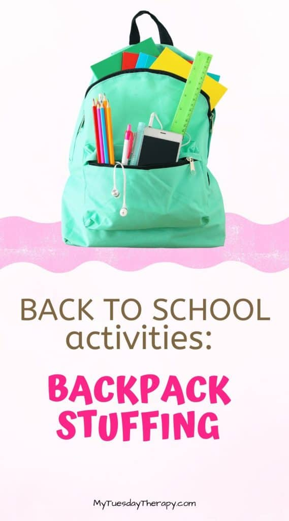 Back to school activities: backpack stuffing. Family fun. Family tradition.