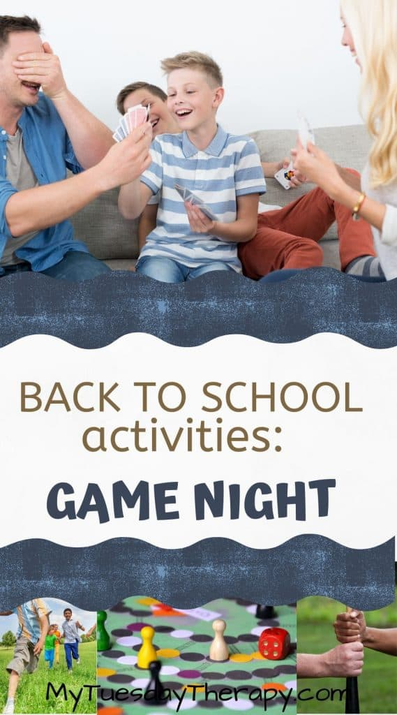 Back to school party activities: game night. End of summer game night. Family fun.