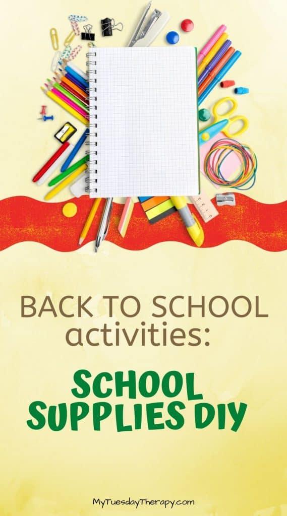 Back to school activities: DIY school supplies! A fun back to school party activitiy.