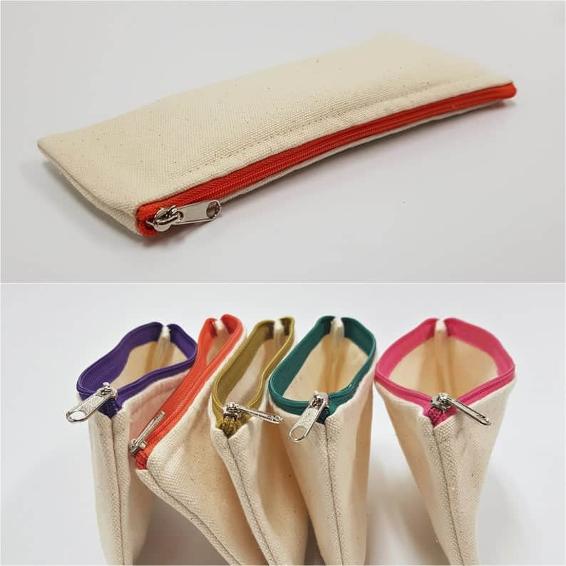 Canvas Pencil Pouch for A DIY school supply project. (whitemall)