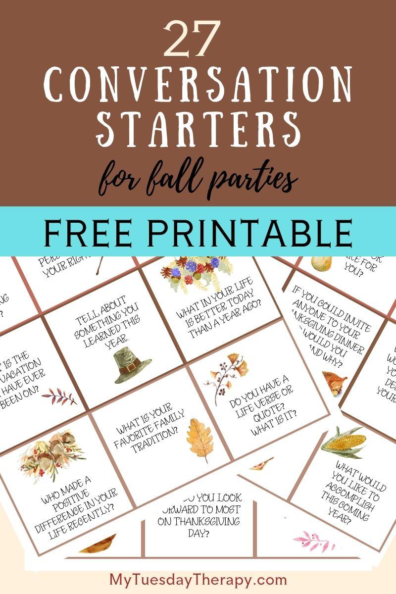 Autumn Conversation Starters, free printable