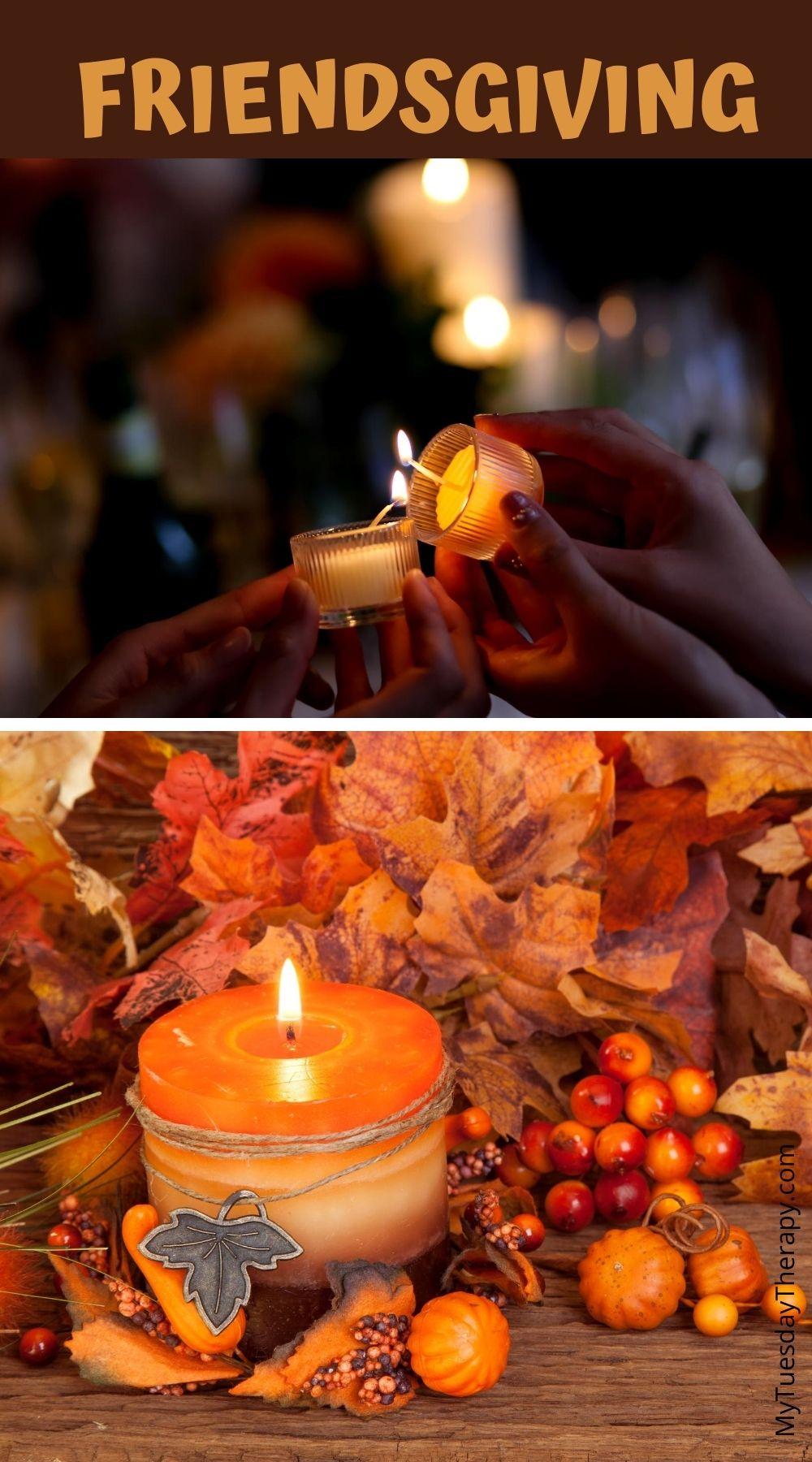 Friendsgiving decor ideas. Candles