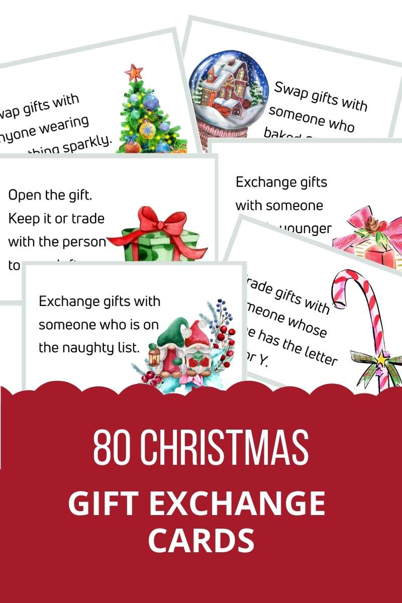 80 Christmas Gift Exchange Cards. For example: exchange gifts with someone whose name has the letter J, O, or Y.