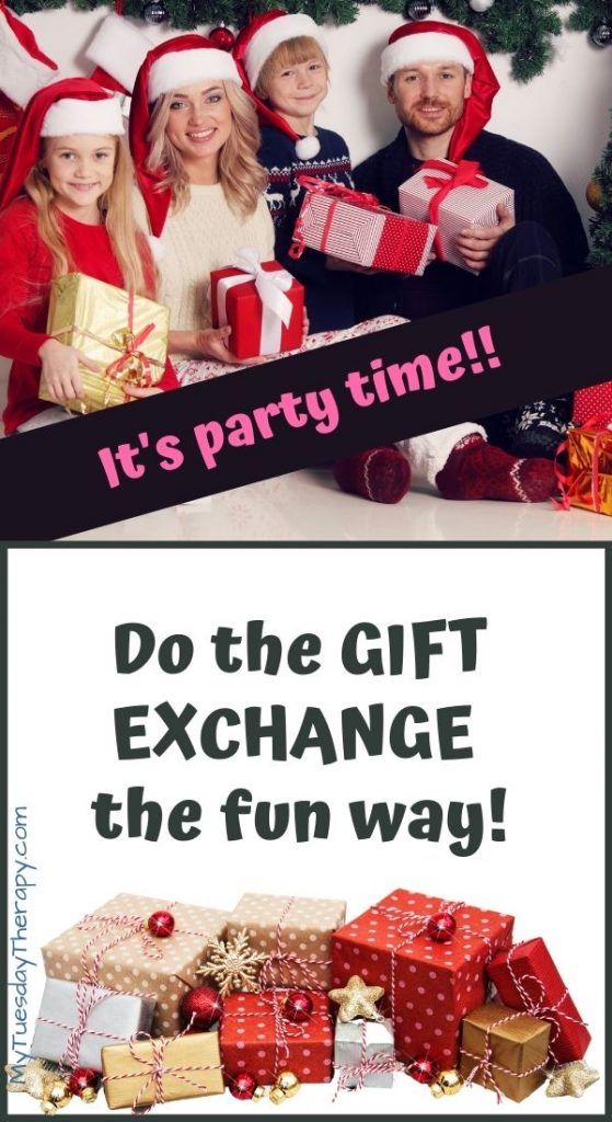 It's party time! Christmas gift exchange ideas for family, kids.