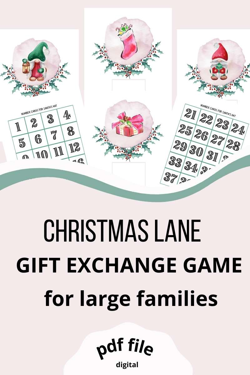 Christmas Lane. Christmas gift exchange game for large families. Pdf file. 4 watercolor illustrated pages (gnome with green hat, gnome with red hat, stocking, wrapped present), 40 number cards.