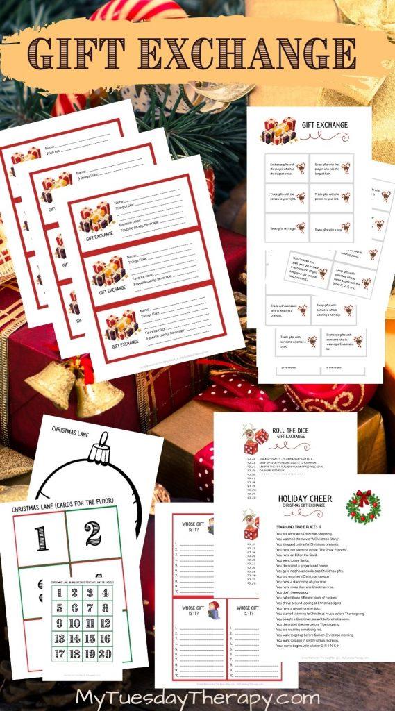 Christmas gift exchange game ideas. Fun gift exchange printables.