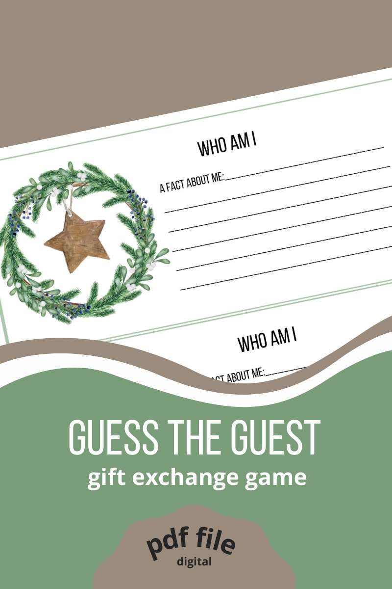 """Guess the Guest Christmas Gift Exchange Game, printable pdf. A who am I card with a space to write """"a fact about me"""". Evergreen wreath with mistletoe. A rustic star hanging in the middle. Three cards on one page."""