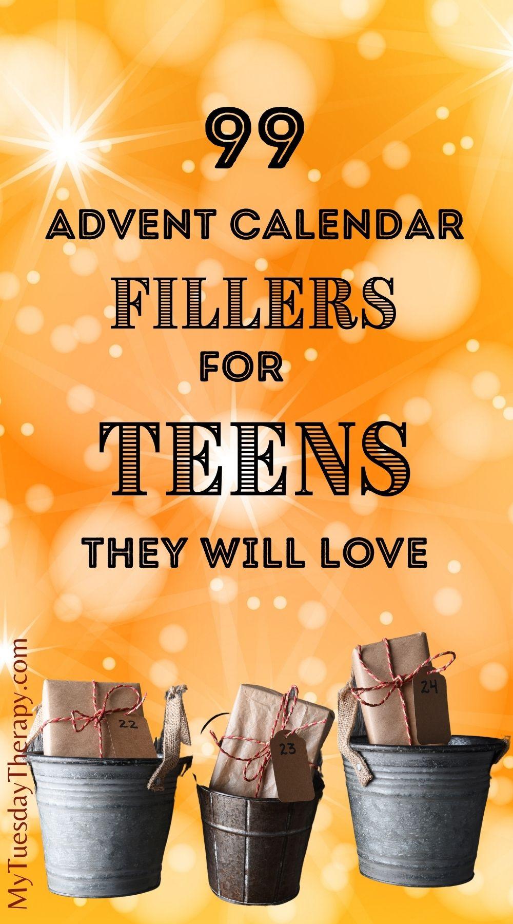 Advent calendar filler ideas for teenage girls and boys.