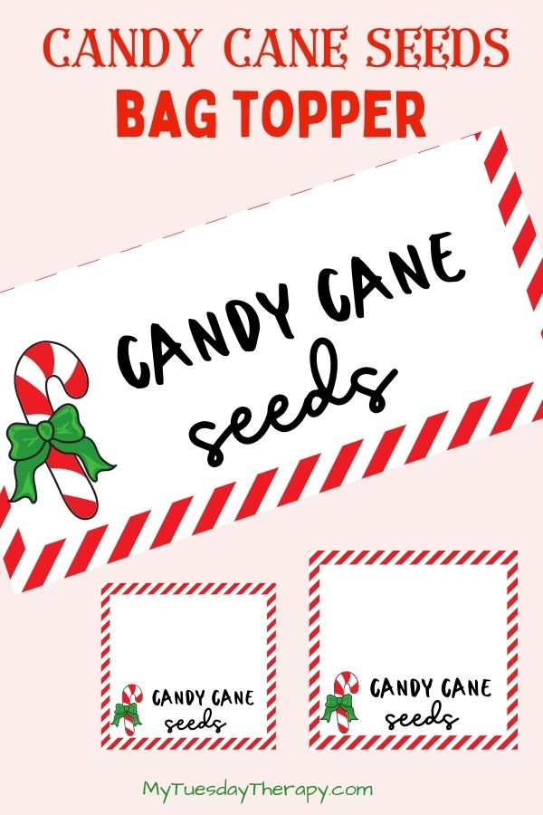 Candy Cane Seed Bag Toppers in Two Sizes