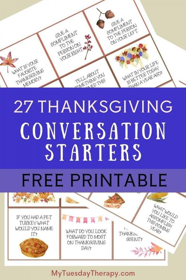 Thanksgiving Conversation Starters Free Printable