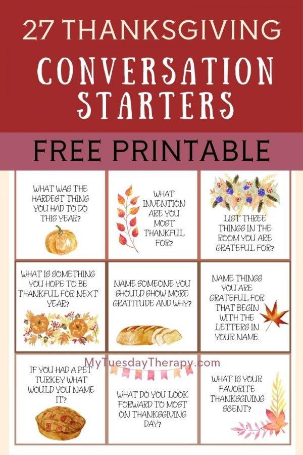 Fun Thanksgiving Conversation Starters, free printable