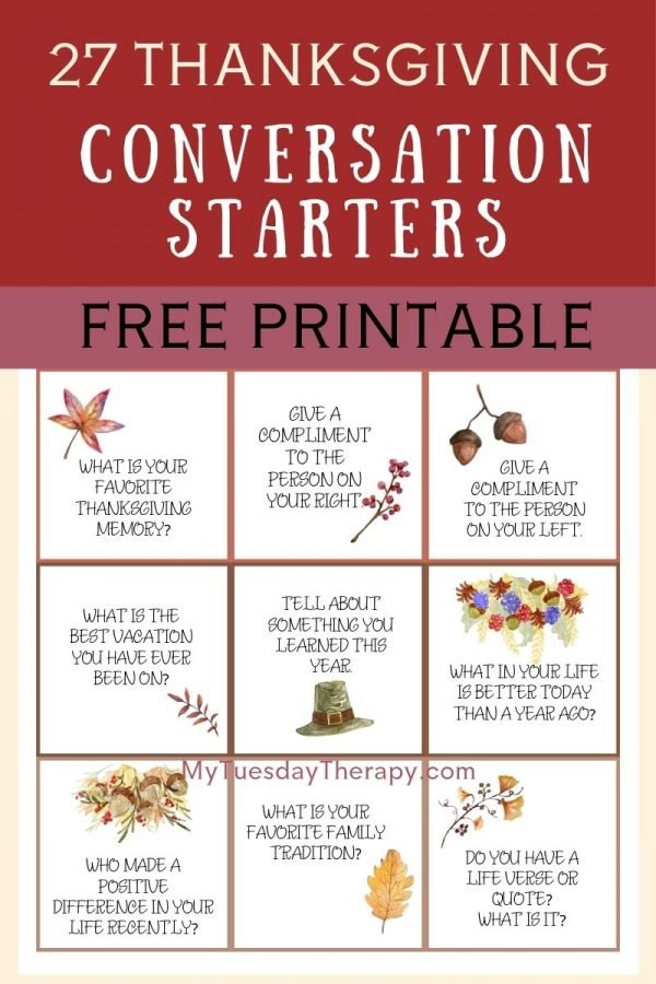 27 Thanksgiving conversation starter cards, free printable
