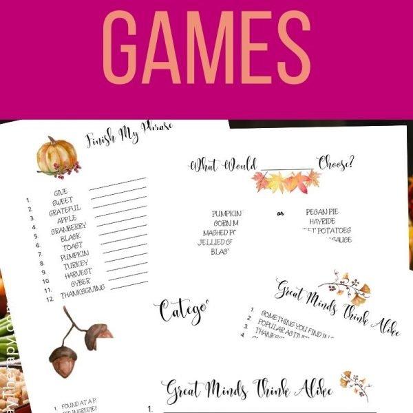 Thanksgiving game printables. Fun Thanksgiving games for large group, adults, teens. older kids.