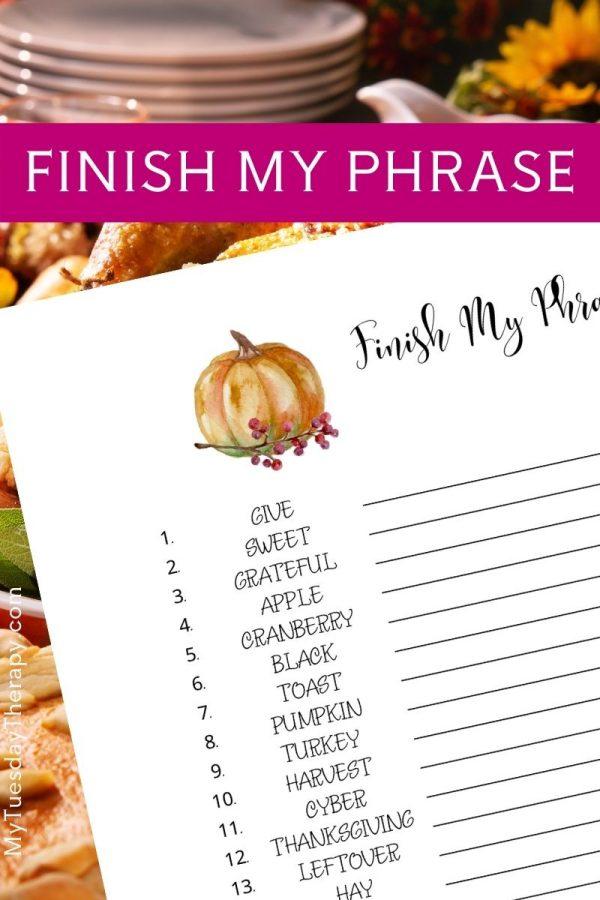 Finish My Phrase Thanksgiving Game Printable