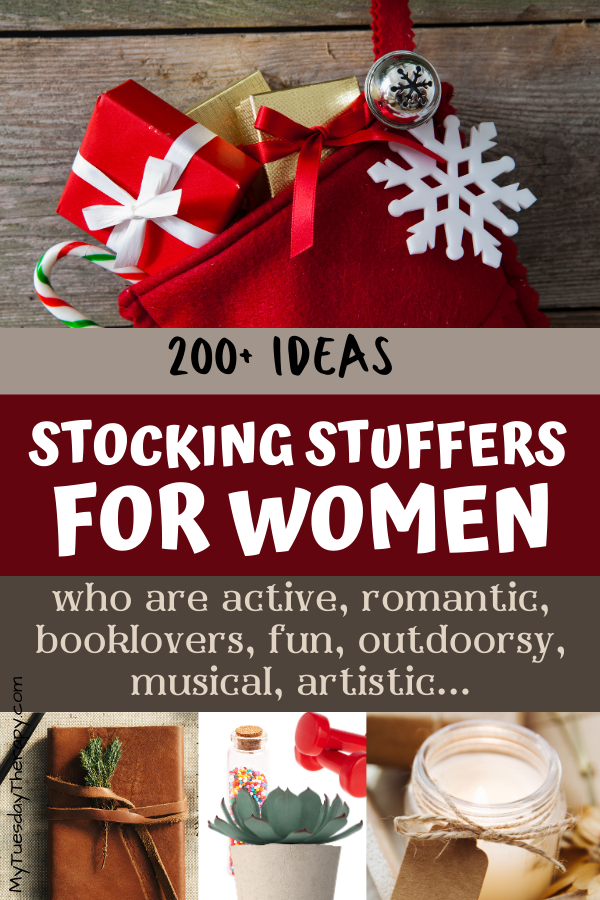 Stocking stuffers for women who are active, romantic, booklovers, fun, outdoorsy, musical, artistic