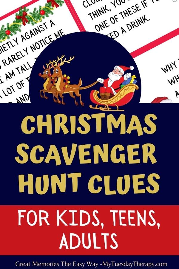 Christmas treasure hunt clues for kids, teens and even adults.