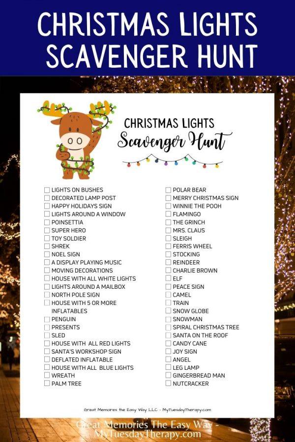 Free Christmas Lights Scavenger Hunt Printable