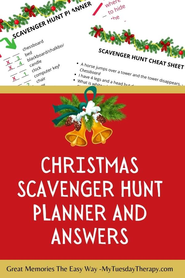 Christmas scavenger hunt planner and answer sheet.