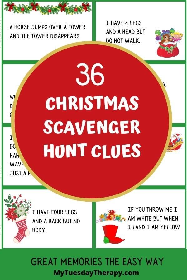 Christmas scavenger hunt clues for gift scavenger hunt on Christmas Eve or Christmas party.
