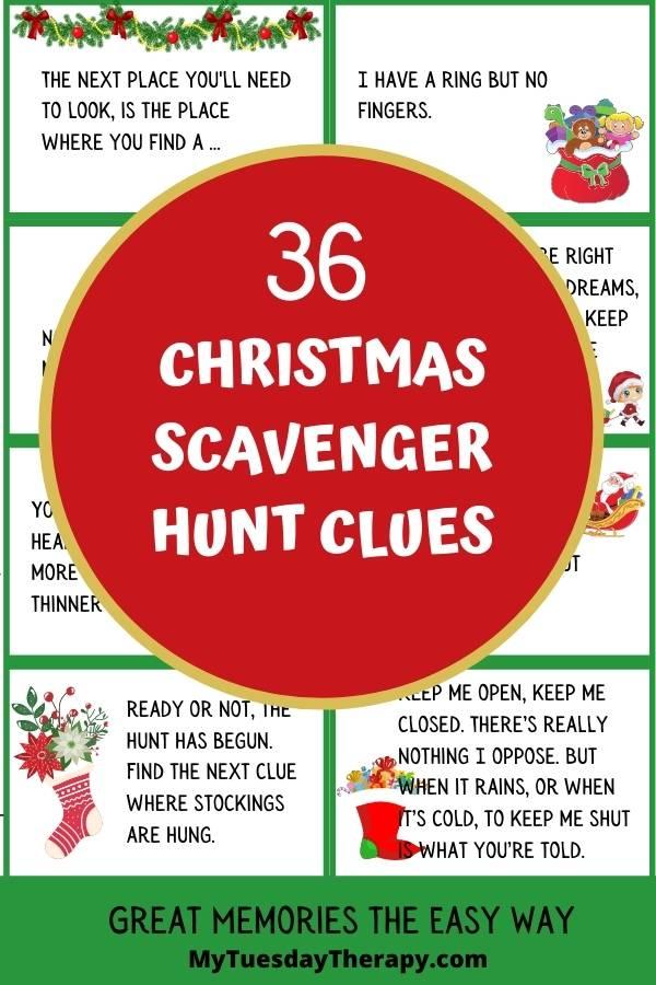 36 Easy and hard Christmas scavenger hunt clues for older kids.