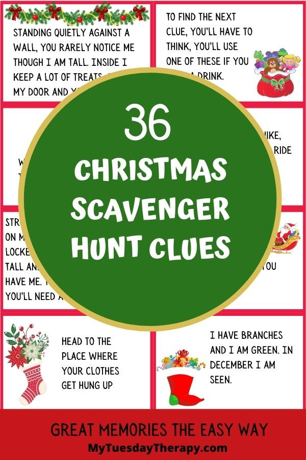 Christmas scavenger hunt clues for kids and teens. Christmas party activity.