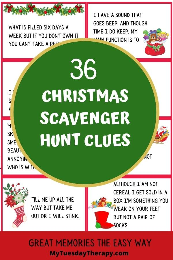 Christmas Scavenger Hunt Clues. A fun Christmas party game for teens, adults, kids.