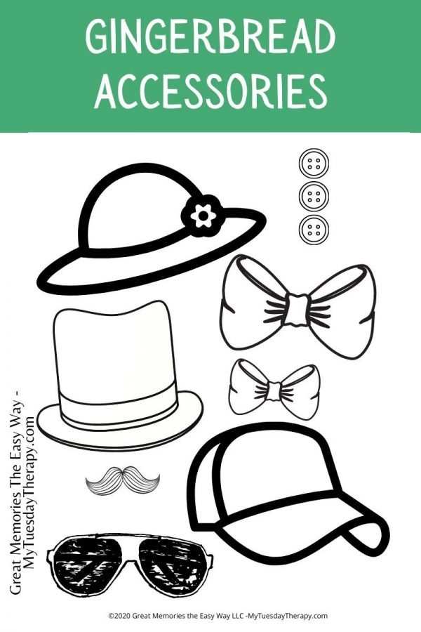 Accessories for gingerbread man. Free printable.