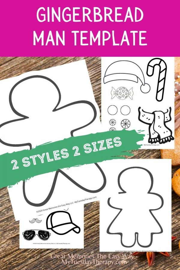 Gingerbread man template. Free Christmas printable. Gingerbread woman template.