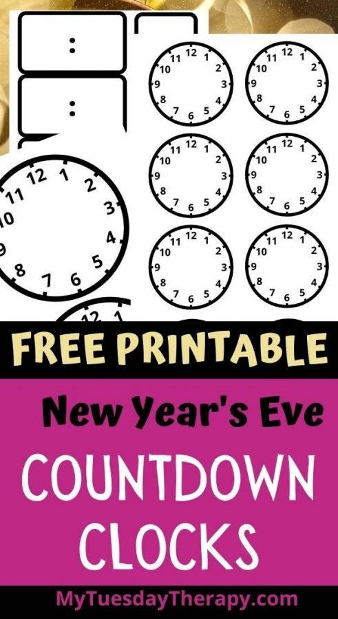 Blank New Year's Eve Countdown Clocks, Free New Year's Eve Printable.