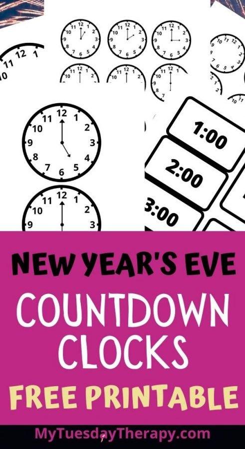 New Year's Eve countdown clocks free printable. New Years fun for kids.