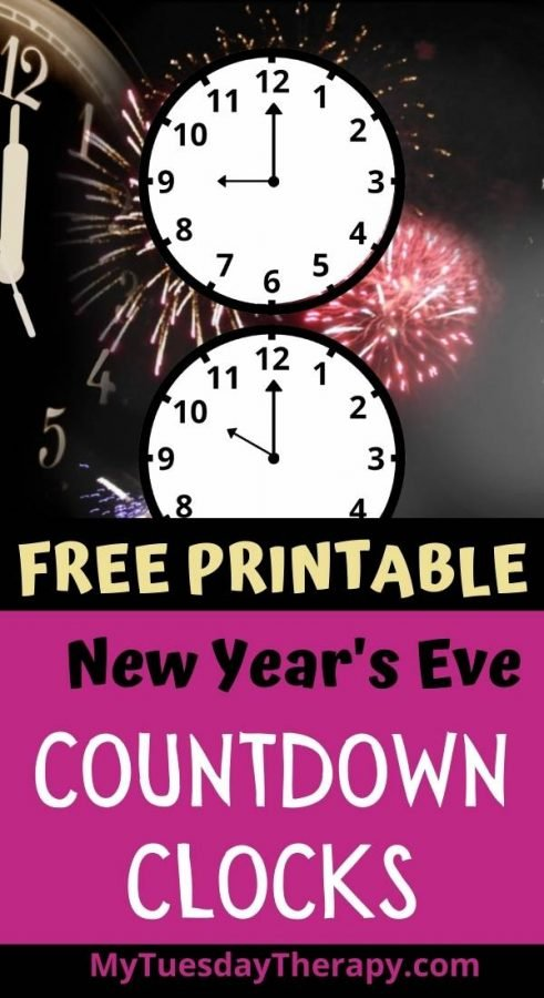 New Year's Eve countdown clocks free printable. New Year's Eve fun ideas for kids.
