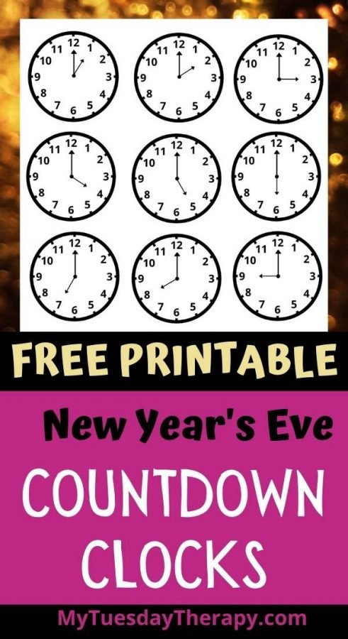Countdown clocks for New Year's Eve countdown bags. Free printable.