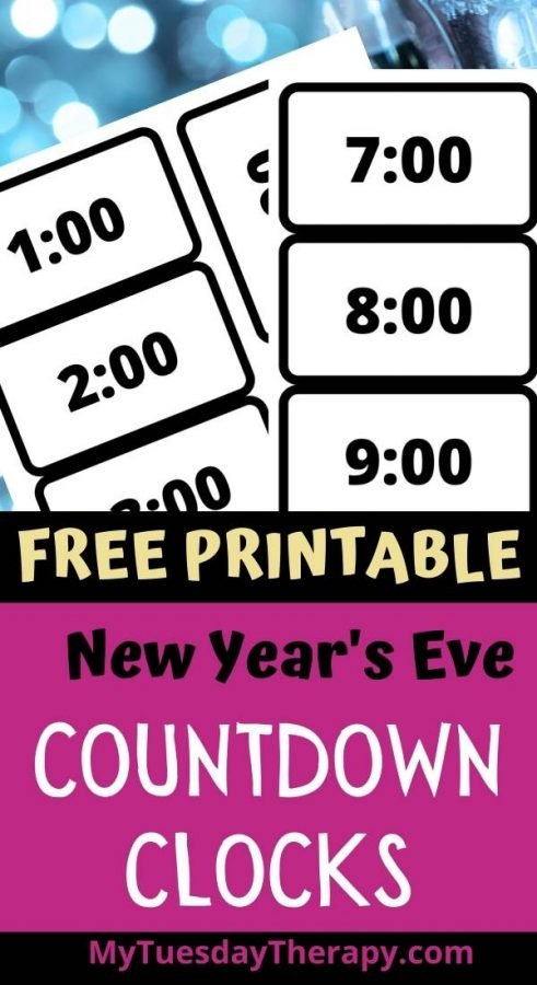 New Year's Eve Countdown Clocks digital style. Free New Year's Eve printable.