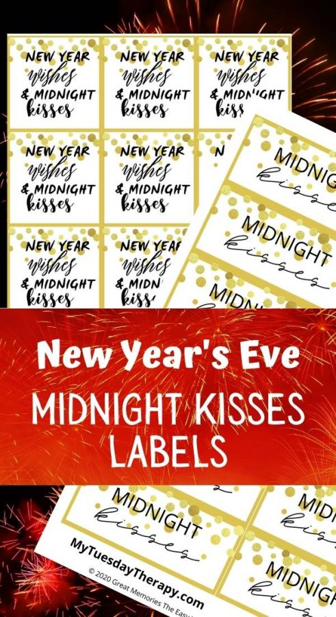 New Year's Eve Midnight Kisses tags.